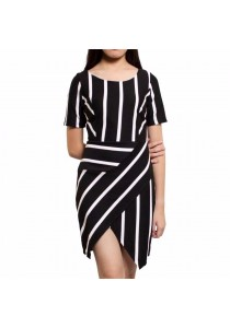 Ladies Room Short Sleeve Stripes Fitted Formal Dress - Black / White