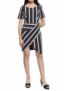 Ladies Room Short Sleeve Stripes Fitted Dress - White / Grey