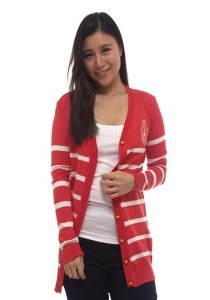 Ladies Room Long Sleeve Stripes Button Down Cardigan