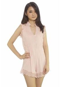 Ladies Room V-neck Cotton Jumpsuit - Peach