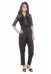 Ladies Room Half Sleeve Black V-Neck Jumpsuit