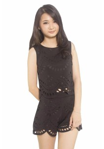 Ladies Room Laser Cut Top and Pants - Black
