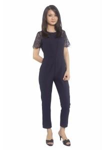 Ladies Room Short Sleeve Lace Long Jumpsuit - M
