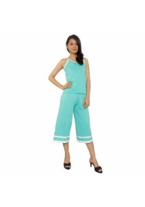 Ladies Room Sporty Top And 3/4 Wide Leg Pant - Green