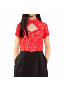 Ladies Room Short Sleeve Lace Jumpsuit Cheongsam - Red L