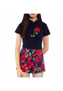 Ladies Room Short Sleeve Cheongsam and High Waist Pants