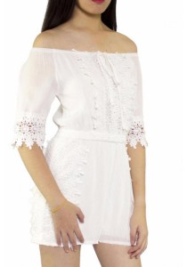 Ladies Room Off Shoulder Jumpsuit - White