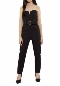 Ladies Room Strapless Belted Long Jumpsuit - Black