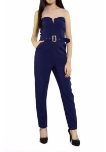 Ladies Room Strapless Belted Long Jumpsuit - Navy Blue