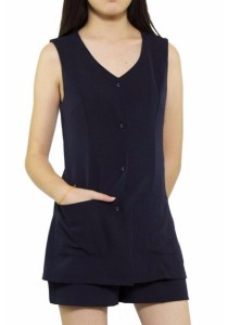Ladies Room Double Layered Romper - Navy Blue L