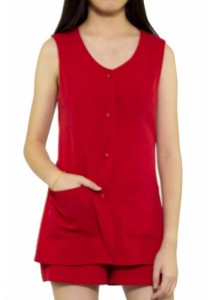 Ladies Room Double Layered Romper - Red L