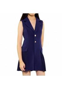 Ladies Room Collar V-Neck Pleated Formal Jumpsuit