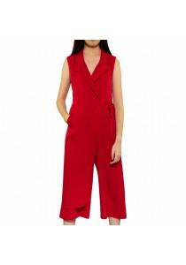 Ladies Room Sleeveless V-Collar Overlap Formal Red Jumpsuit - S
