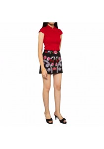 Ladies Room Traditional Top and Skirt Pants Cheongsam - Black
