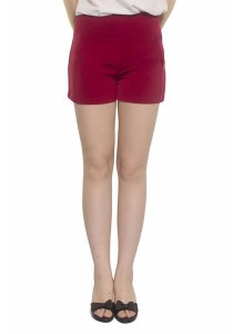 Ladies Room Cotton Side Pocket Shorts - Red