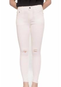 Ladies Room White Denim Ripped Skinny Pants - L