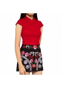 Ladies Room Floral Embroidered Mini Skirt Pants - Black L