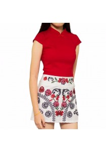 Ladies Room Embroidery Floral Mini Skirt Pant - White