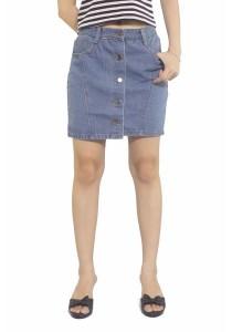 Ladies Room Button Down Mini Skirt