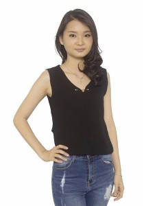Ladies Room Elegant Metal V-Neckline Top - Black