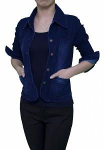 Ladies Room Shirt Collar Button Down Slim Denim Jacket - Blue