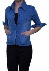 Ladies Room Shirt Collar Button Down Slim Denim Jacket - Light Blue