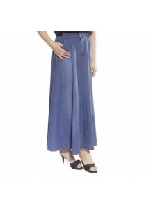 Ladies Room Stretchable Denim Maxi Skirt with Side Pocket - Light Blue