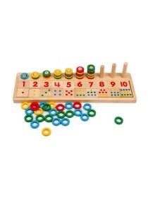 Montessori Rainbow Rings Dominos Children Preschool Teaching Aids Board Wooden Math Toy (Educational Wooden Math Game Board for Children)