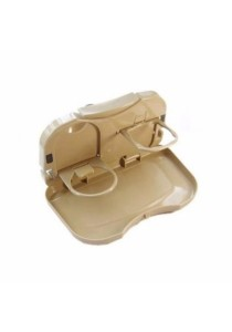 Car Vehicles Multipurpose Foldable Foods Drink Travel Dining Tray (Cream)