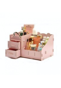 DIY Wooden Cosmetic / Stationery Double Drawer Storage Box (Pink)