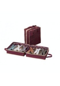 Shoe Organizer Tote Bag Store up to 6 Pair of Shoes (Wine Red)