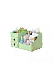 DIY Wooden Cosmetic / Stationery Double Drawer Storage Box (Green)
