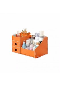 DIY Wooden Cosmetic / Stationery Double Drawer Storage Box (Orange)
