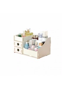 DIY Wooden Cosmetic / Stationery Double Drawer Storage Box (White)