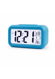 Smart LCD Digital CalenderTempAlarm Clock With Night Light Sensor (Blue)