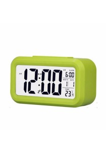 Smart LCD Digital CalenderTempAlarm Clock With Night Light Sensor (Green)