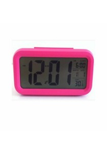 Smart LCD Digital CalenderTempAlarm Clock With Night Light Sensor (Red)