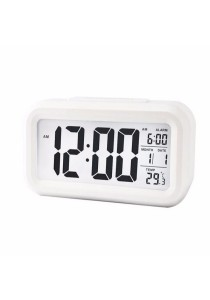 Smart LCD Digital CalenderTempAlarm Clock With Night Light Sensor (White)