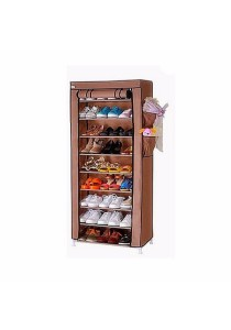 Stackable Shoe Cabinet 10 Tier 9 Column Shoe Rack with Dust Cover (Brown)