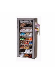 Stackable Shoe Cabinet 10 Tier 9 Column Shoe Rack with Dust Cover (Grey)
