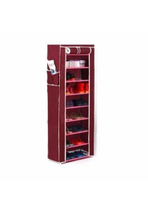 Stackable Shoe Cabinet 10 Tier 9 Column Shoe Rack with Dust Cover (Wine Red)