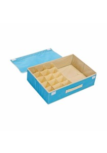 2-in-1 Storage Box 15 Grid For Underwear, Bra and Sock  (Blue)