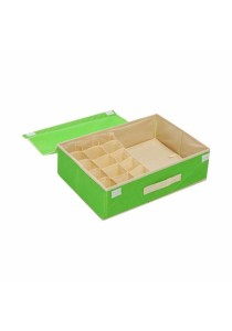 2-in-1 Storage Box 15 Grid For Underwear, Bra and Sock  (Green)