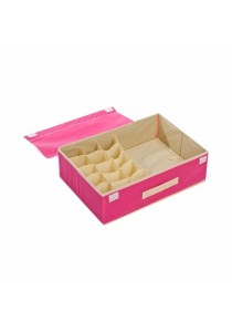 2-in-1 Storage Box 15 Grid For Underwear, Bra and Sock (Hot Pink)