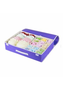 2-in-1 Storage Box 15 Grid For Underwear, Bra and Sock (Purple)