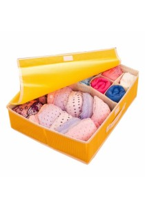 2-in-1 Storage Box 15 Grid For Underwear, Bra and Sock (Yellow)