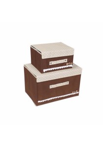 Set of 2 Colourful Elegent Storage Box Set (Coffee)