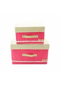 Set of 2 Colourful Elegent Storage Box Set (Hot Pink)