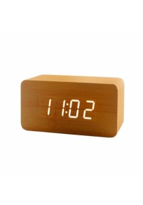 LED USB Digital Alarm Clock (Wooden)
