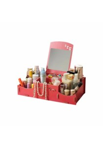 DIY Wooden Storage Box Organiser Cosmetic Stationery with Mirrow (Red)